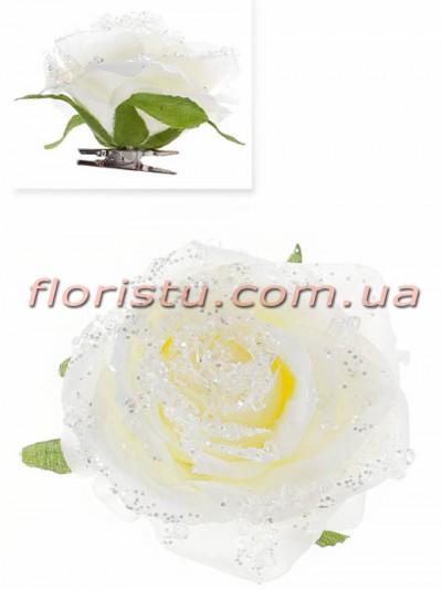 Головка новогодней розы заснеженная на клипсе Белая 9 см