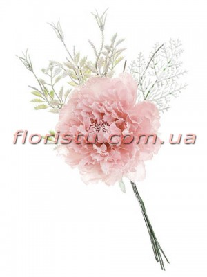 Пион с зимним декором Нежно-розовый премиум класса 18 см гол. 11 см