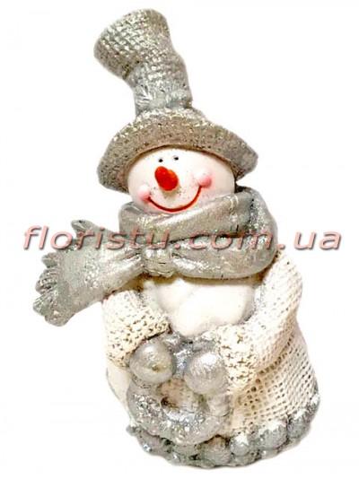Новогодняя фигурка полистоун Снеговик 12 см