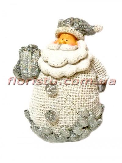 Новогодняя фигурка полистоун Санта с подарком 8 см