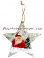Новогодняя подвеска на елку металлическая Звездочка с Сантой 12 см