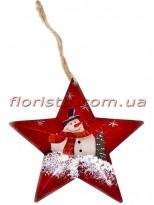 Новогодняя подвеска на елку металлическая Звездочка со снеговиком 12 см