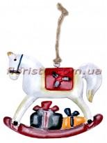 Новогодняя металлическая подвеска на елку Лошадка 13 см