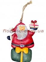 Новогодняя металлическая подвеска на елку Санта Клаус 13 см