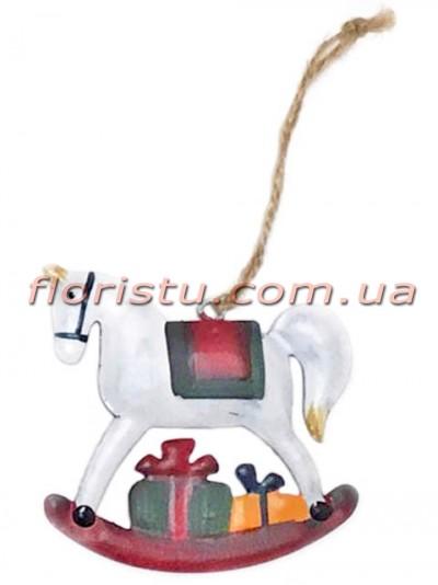Новогодняя металлическая подвеска на елку Лошадка 7 см