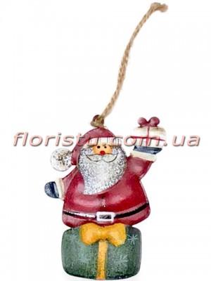 Новогодняя металлическая подвеска на елку Санта Клаус 7 см