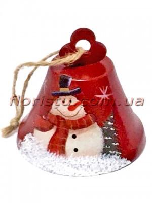 Новогодняя металлическая подвеска на елку Колокольчик красный 8 см