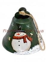 Новогодняя металлическая подвеска на елку Колокольчик зеленый 8 см