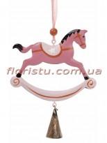 Новогодняя металлическая подвеска Лошадка-качалка розовая 21 см