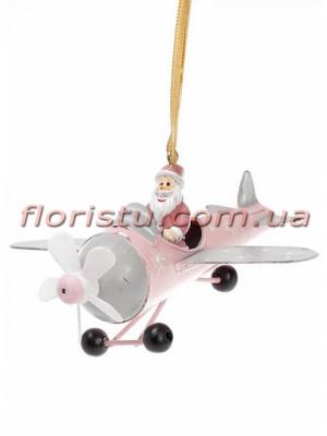 Новогодняя металлическая подвеска Самолет с Сантой в розовом 12,5 см