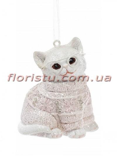 Статуэтка-подвеска из полистоуна Котик в свитере нежно-розовом 6,5 см