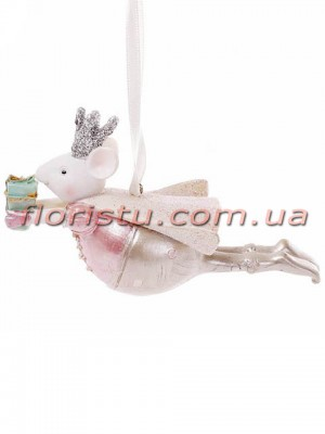 Декоративная фигурка-подвеска полистоун Мышка Королева 13 см
