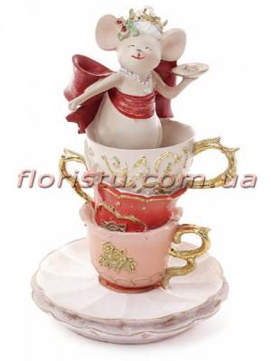 Декоративная фигурка полистоун Мышка Королева в чашке 17 см