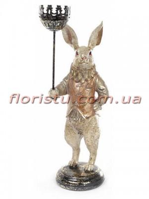 Декоративная фигурка полистоун с подсвечником Белый Кролик в золоте 34 см