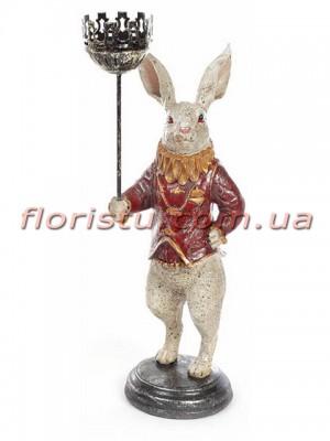 Декоративная фигурка полистоун с подсвечником Белый Кролик в красном 34 см
