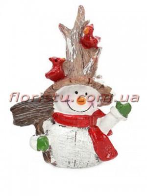 Новогодняя фигурка полистоун Снеговик с птичками и лопатой 7,5 см