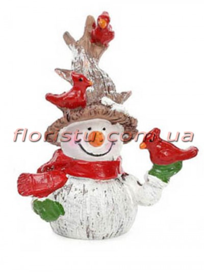 Новогодняя фигурка полистоун Снеговик с птичками 7,5 см