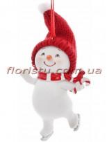 Новогодняя фигурка-подвеска полистоун Снеговик с леденцом 9 см