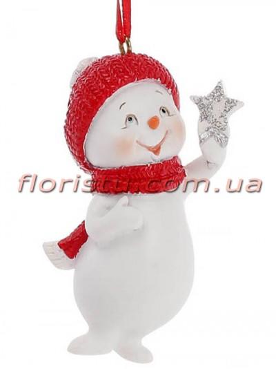 Новогодняя фигурка-подвеска полистоун Снеговик со звездочкой 7 см