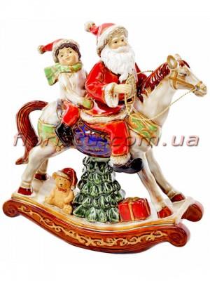 Фарфоровый декор Санта на лошади 27,5 см
