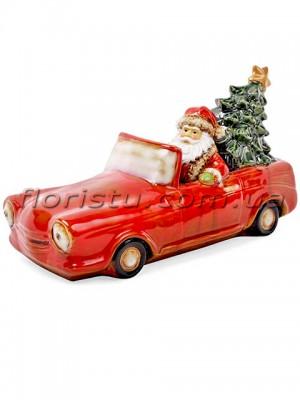 Новогодний фарфоровый декор Санта в машине с LED-подсветкой 35 см