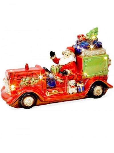 Новогодний фарфоровый декор Санта в автомобиле с LED-подсветкой 39 см