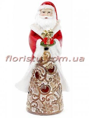 Новогодняя статуэтка из полистоуна Санта с LED-подсветкой 25,5 см