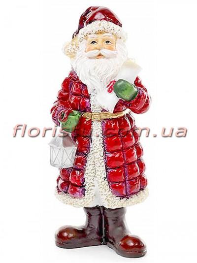 Новогодняя статуэтка из полистоуна Санта 15 см