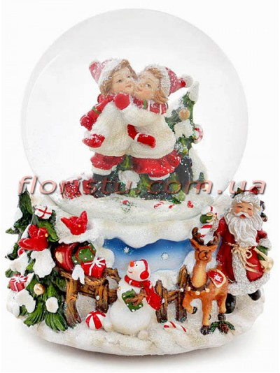 Новогодний музыкальный водяной шар Детки 14,5 см