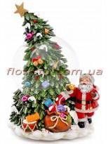 Новогодний водяной шар Санта у елочки на заводном механизме с музыкой 20 см