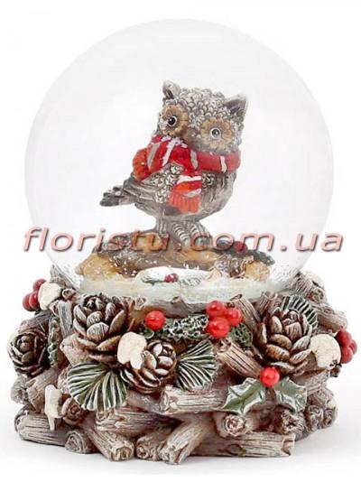 Декоративный водяной шар Сова в красном шарфе 9 см