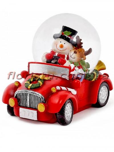 Новогодний водяной шар Снеговик с оленем в машине 9 см