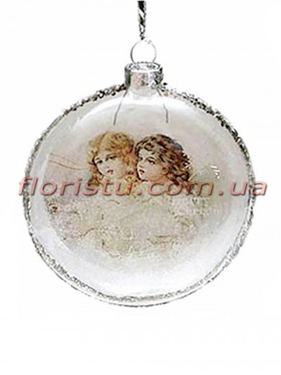 Новогодний медальон на елку Винтаж Девочки 8 см