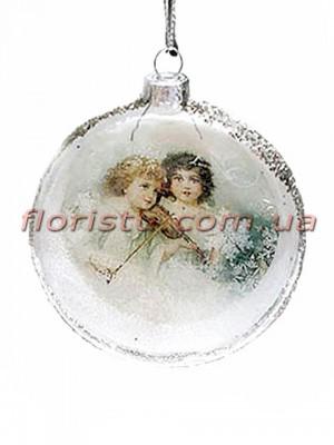Новогодний медальон на елку Винтаж Мальчики 8 см