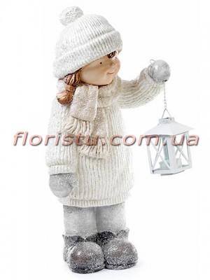 Новогодняя фигура Девочка с фонариком 45 см