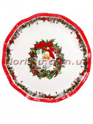 Новогоднее керамическое блюдо Санта 30 см