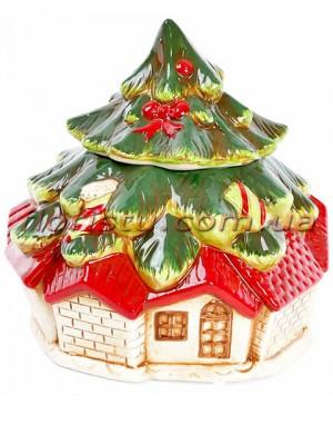 Новогодняя керамическая банка для сладостей Домик 22 см