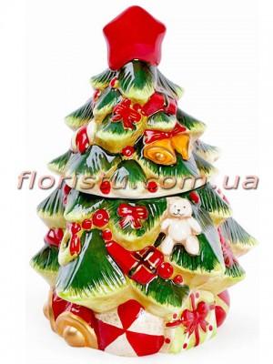 Новогодняя керамическая банка для сладостей Елочка 30,5 см