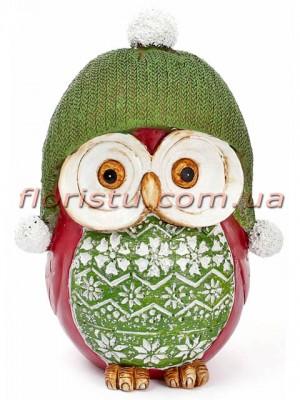 Декоративная копилка Совушка в зеленой шапке 17 см