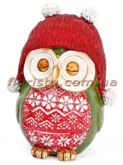 Декоративная копилка Совушка в красной шапке 17 см