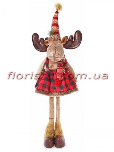 Новогодняя мягкая игрушка Олениха в юбочке 76 см