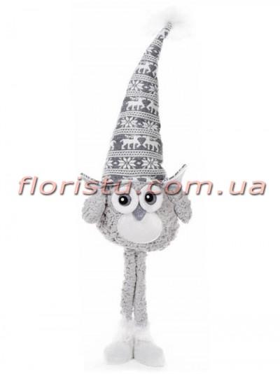 Новогодняя мягкая игрушка Совушка в шляпе 80 см