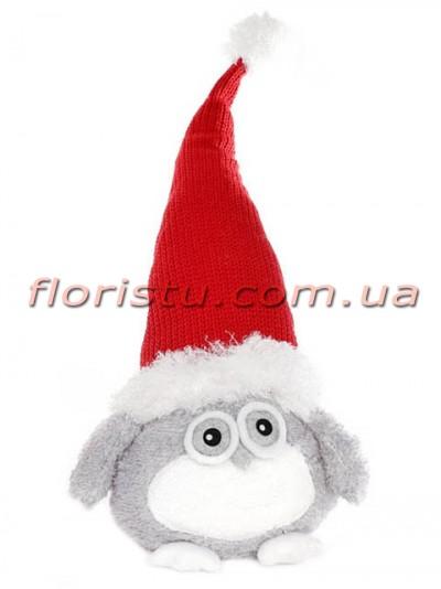 Новогодняя мягкая игрушка Сова в красной шапке 70 см