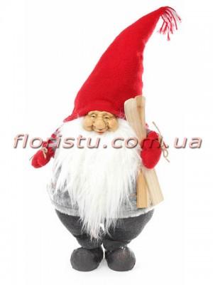 Новогодняя фигура Гном с лыжами 62 см