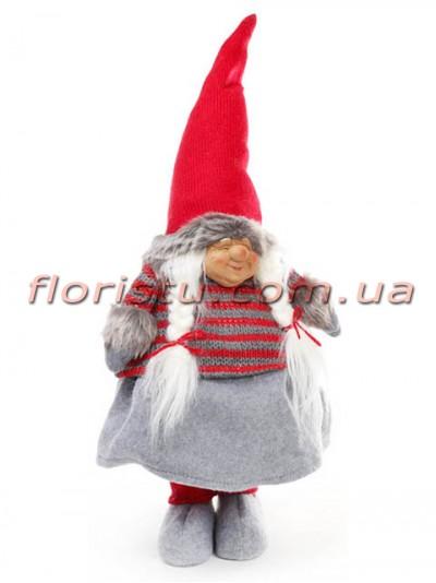 Новогодняя фигура Гномиха в красной шапке 59 см