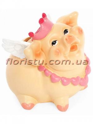 Копилка-свинка полистоун Королева 12 см