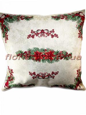 Новогодняя гобеленовая подушка EMILY HOME 45*45 см №6