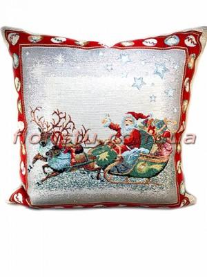 Новогодняя гобеленовая подушка EMILY HOME 45*45 см №15