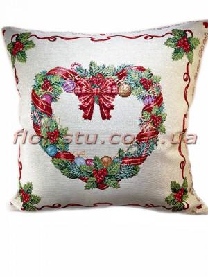 Новогодняя гобеленовая подушка EMILY HOME 45*45 см №16