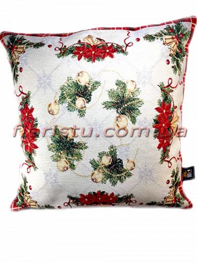 Новогодняя гобеленовая подушка EMILY HOME 45*45 см №2 Золото